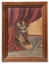 Folk Art Painting of Kitten in a Boot