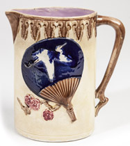 Majolica Pitcher with Fan