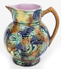 Unusual Musical Theme Majolica Pitcher