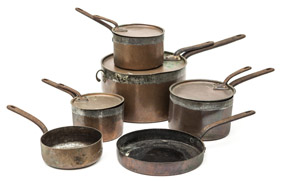 Six Early Copper Sauce Pans