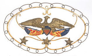 Patriotic Bi-Metal Wall Hanging With Eagle