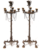 Pair of Bronze Candelabras with Storks