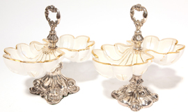 Pair Sterling & Cut Glass Tazzas