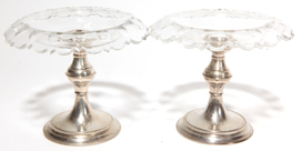 Pair of Silver Cut Clear Tazzas