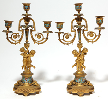 Pair of Gilt & Enameled Bronze Candelabras