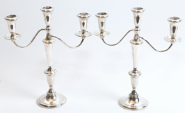 Pair of Sterling Silver Candelabras  by Empire