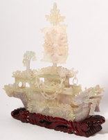 Chinese Carved Jade Dragon Ship