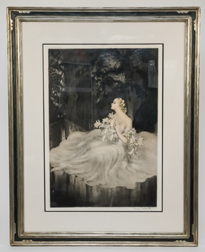 "Louis Icart Etching ""Lillies"""