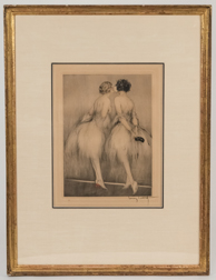 "Louis Icart Etching  ""Backstage"""