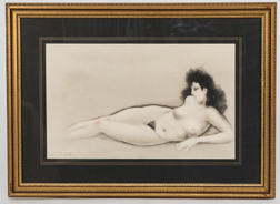 Louis Icart Hand-colored Etching of Nude Woman