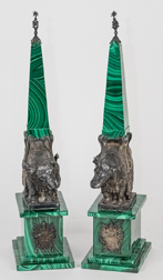 Pair Silver & Malachite Obelisks