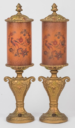 Pair Reverse Painted Cylinder Boudoir Lamps