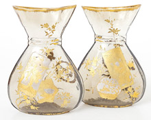 Pair Early Galle Art Glass Vases