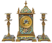 French Champleve Enameled  Clock Set