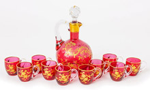 Victorian Cranberry Art Glass Cruet & Cups