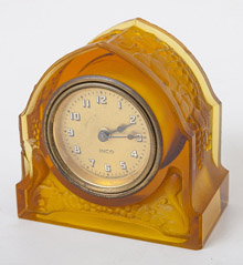 French Art Glass Desk Clock