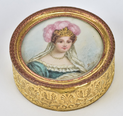 Gilt Patch Box with Miniature Portrait