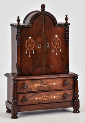 Rosewood Inlaid Miniature Court Cupboard