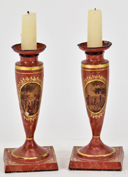 Pair Outstanding Tole Candlesticks