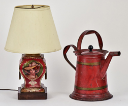 Tole Lamp & Watering Can
