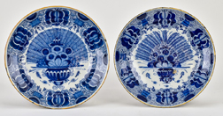 Pair of 18th Century Delft Chargers