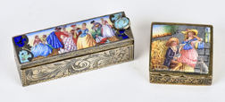 Two French Enameled Silver Boxes