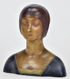 Art Deco Painted Bust