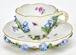Meissen Decorated Porcelain Cup & Saucer