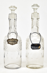 Pair Cut Glass Whiskey Decanters