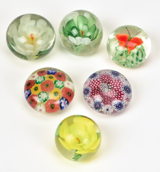 Six Glass Paper Weights