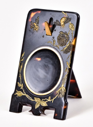 Carved & Gold Inlaid Japanese Watch Holder