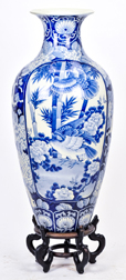 Large Chinese Porcelain Temple Vase & Stand