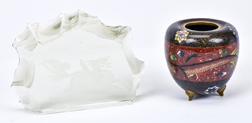 Cloisonne Jar & Chinese Glass Paper Weight