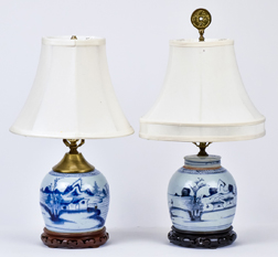 Two Early Canton Jars Made into Lamps