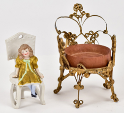 French Bisque Child in Chair Plus