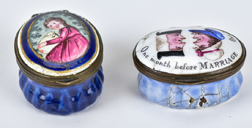 Two English 18th Century Enameled Patch Boxes