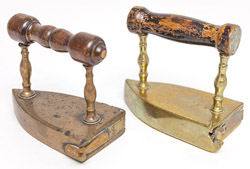 Two Wrought Brass Flat Irons