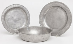 Early Pewter Basin & Chargers