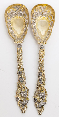 Two Ornate English Sterling Silver Serving Spoons