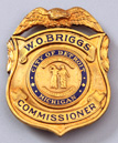 1924 W.O. Briggs Detroit Commissioner Badge