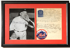 Original Casey Stengel Autographed Letter & Photo