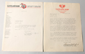 Important 1937 Cleveland Rams League Induction Letters