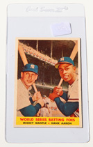 1958 Topps #418 Mantle and Aaron Card