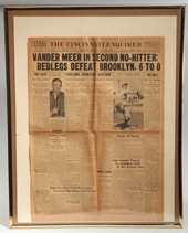 1938 Vander Meer Second No-Hitter Newspaper
