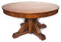 Arts & Crafts Mission Round Oak Dining Table