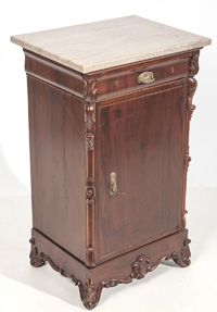 Marble Top Edwardian Music Cabinet