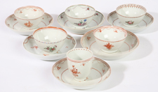 SIX CHINESE EXPORT CUPS & SAUCERS