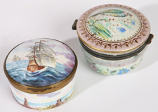 TWO EARLY ENAMELED BOXES