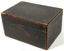 GREAT 19TH CENTURY PAINT DECORATED WOODEN BOX