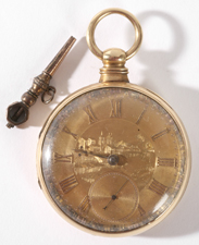 14K GOLD POCKET WATCH BY R & G BEESLEY, LIVERPOOL